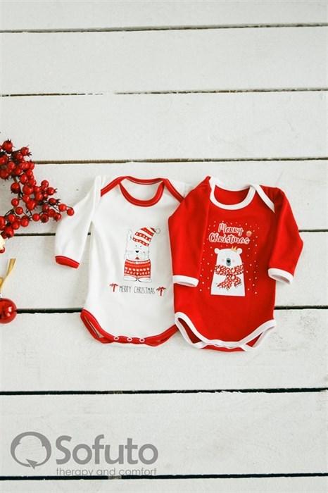 Боди детское Sofuto baby New white with red - фото 6377