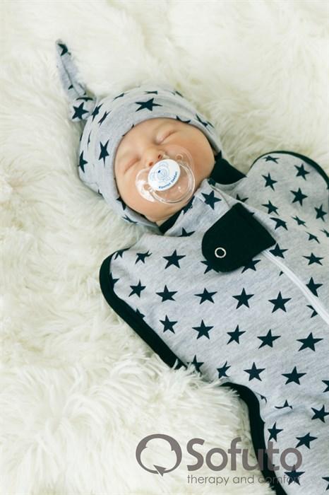 Шапочка узелок Sofuto Baby Black stars - фото 6651