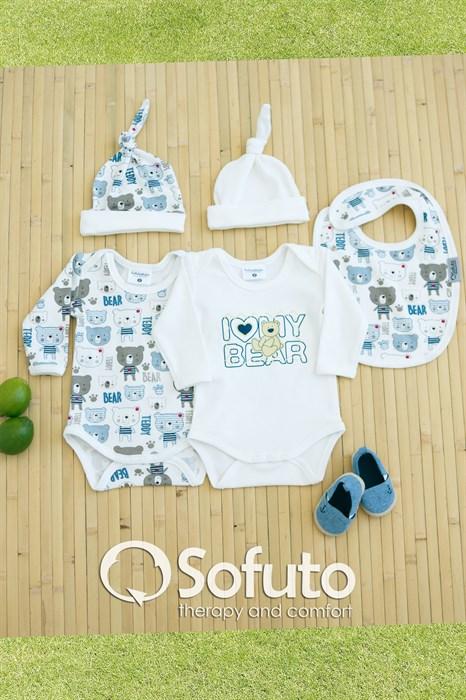 Комплект боди (5 предметов)  Sofuto baby teddy - фото 6850