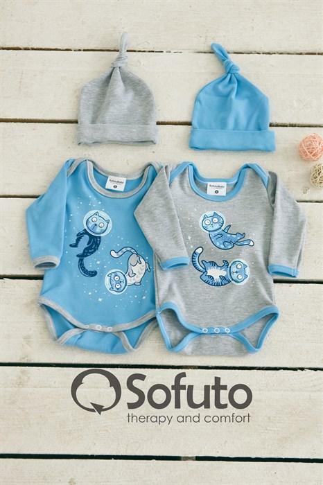 Комплект боди (4 предмета) Sofuto baby Space cats - фото 6971