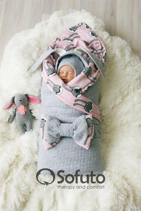 Комплект на выписку теплая осень (7 предметов) Sofuto baby Pink rabbit - фото 8004