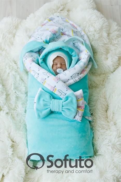 Комплект на выписку холодная зима (7 предметов) Sofuto baby Bunny mint - фото 8090
