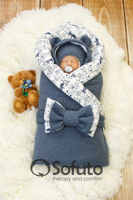 Комплект на выписку холодная зима (7 предметов) Sofuto baby Indigo Dogs melanzh - фото 8590