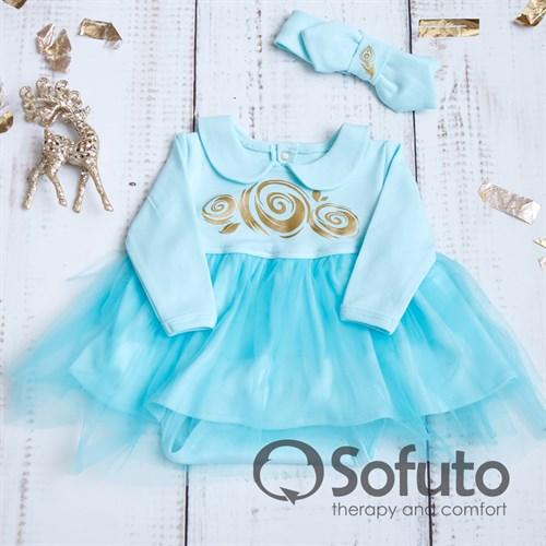 Боди-платье фатиновое с повязкой Sofuto baby aqua