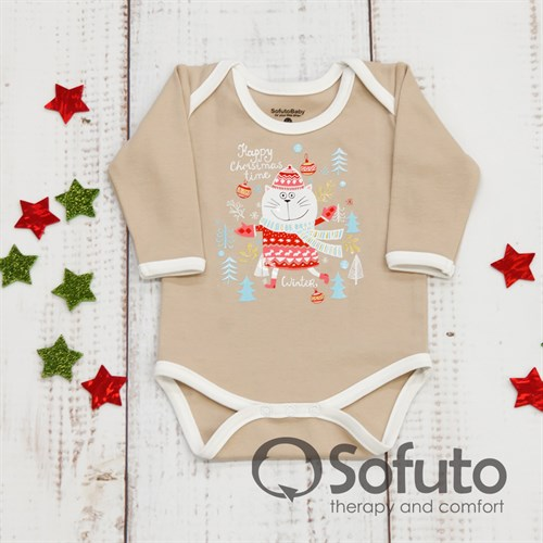 Боди детское Sofuto baby new year Latte - фото 9932