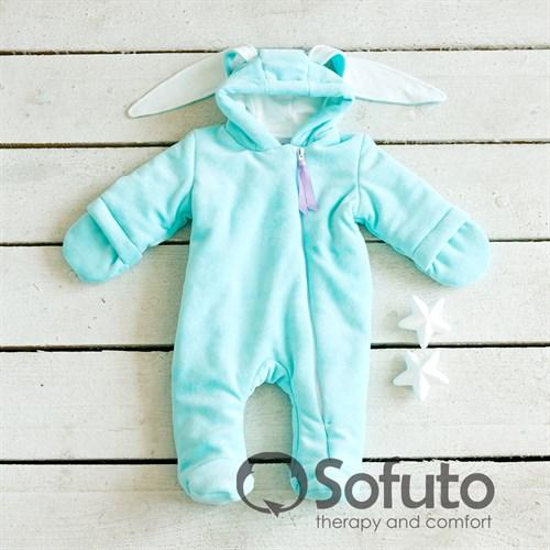 Комбинезон велюровый утеплённый на молнии Sofuto baby Bunny mint - фото 9949