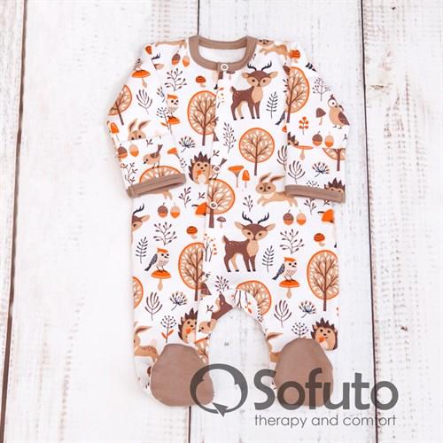 Слип на кнопках Sofuto baby Forest animals - фото 9981