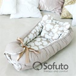 Кокон-гнездышко Sofuto Babynest Сoffee dots