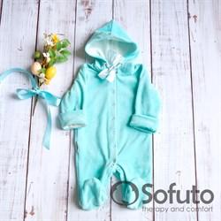 Комбинезон велюровый на кнопках Sofuto baby Mint