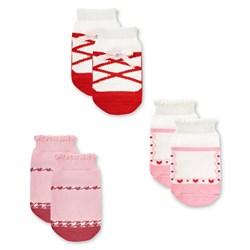 """Носочки 3 пары """"Туфелька"""" трикотаж розовый"""