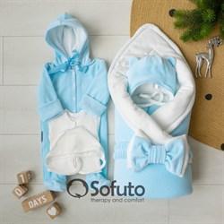 Комплект на выписку зимний (6 предметов) Sofuto baby Blue simple