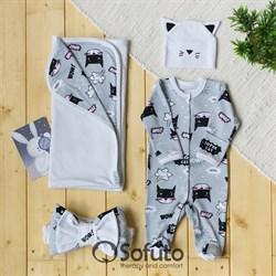 Комплект на выписку летний (4 предмета) Sofuto baby Supercat