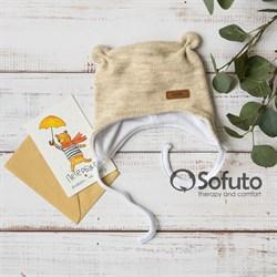Шапочка демисезонная вязаная Sofuto baby Knite beige
