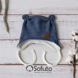 Шапочка демисезонная вязаная Sofuto baby Knite Melange blue