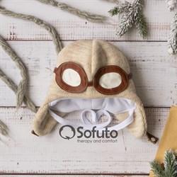 Шапочка зимняя вязаная Sofuto baby Aviator Cream
