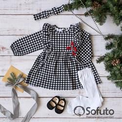 Платье детское  с повязкой Sofuto kids Black check