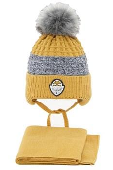 Комплект 3243 Fikus шапка на утеплителе, + снуд, горчичный