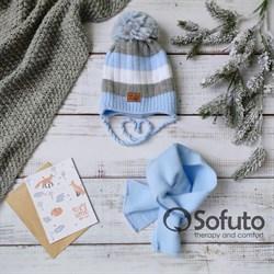 Комплект 40-411 двойная вязка + шарф, голубой