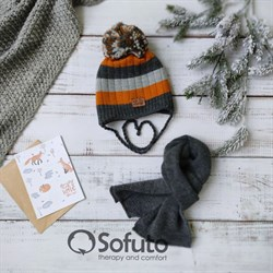 Комплект 40-411 двойная вязка + шарф, темно-серый