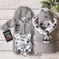 Комплект на выписку демисезонный (6 предметов) Sofuto Batman gray