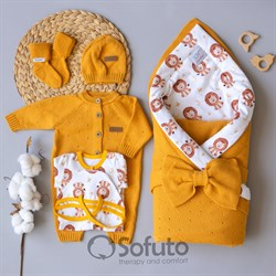 Комплект на выписку вязаный (8 предметов) Sofuto baby Lev