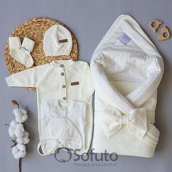 Комплект на выписку вязаный (8 предметов) Sofuto baby Milky