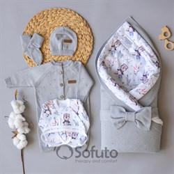 Комплект на выписку вязаный (8 предметов) Sofuto baby Silver