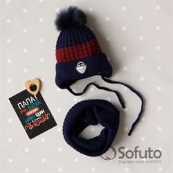 Комплект 3243 Fikus шапка на утеплителе, + снуд, синий с красной полосой