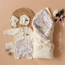 Комплект на выписку вязаный (8 предметов) Sofuto baby Blossom