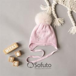 Шапка WN 02 на утеплителе, подклад хлопок, натуральный помпон, розовый