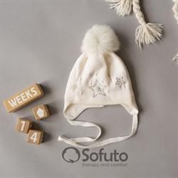Шапка WN 02 на утеплителе, подклад хлопок, натуральный помпон, молочный