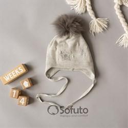 Шапка WN 02 на утеплителе, подклад хлопок, натуральный помпон, серый